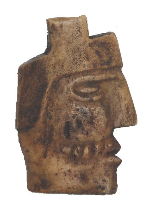 "Hand Carved Folk Art Bone Pendant Guatemala - Profile ( 1.25"" x 2"")"