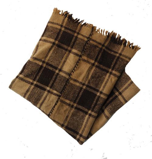 """Handwoven Vintage Woolen Throw Blanket  Guatemala (55"""" x 82"""")"""