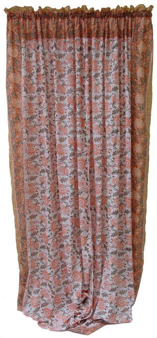 "Block printed Cotton Curtains Peach Sage and White India (44"" x 105""each)"