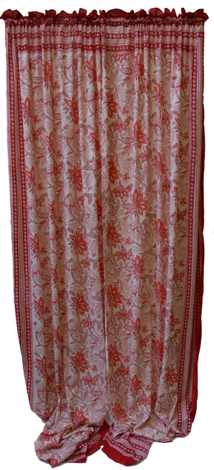"""Block printed Cotton Curtains Red on White India (44"""" x 105""""each)"""