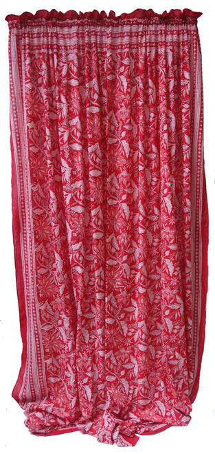 """Block printed Cotton Curtains White on Red India (44"""" x 105""""each)"""