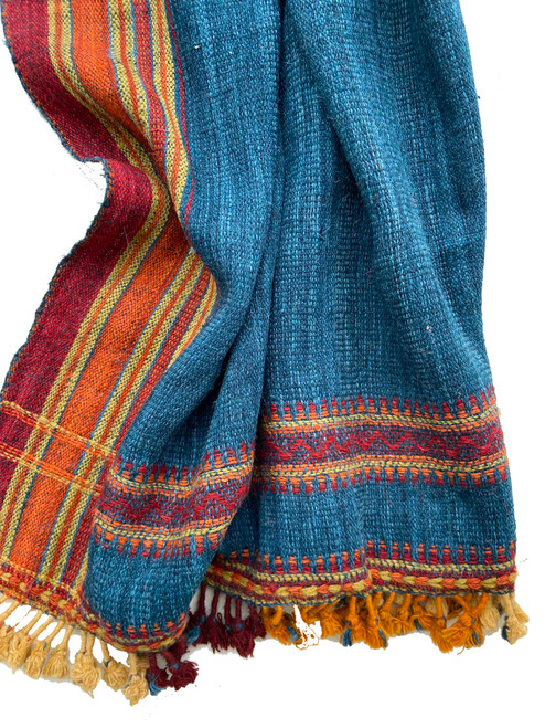 """Handwoven Woolen Natural Dyed Indigo Throw India (38"""" x 84"""") red, burnt orange and citrine yellow"""