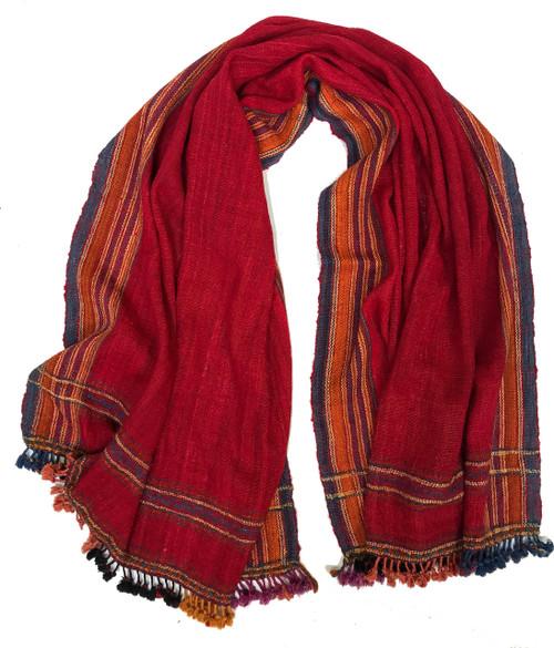 """Handwoven Handspun Woolen Red Throw India (38"""" x 84"""")"""