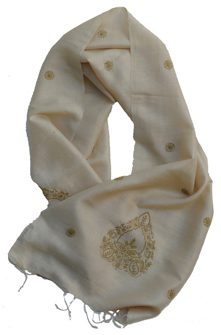 "Handwoven Embroidered Silk Scarf India (17"" x 60"")"