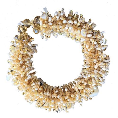 Handmade Beaded Urchin Bracelet Pearl