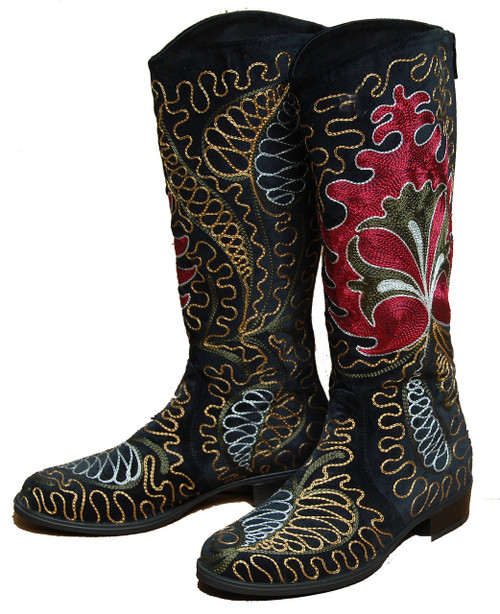 Embroidered Women's Velvet Boots Kyrgyzstan Black 2