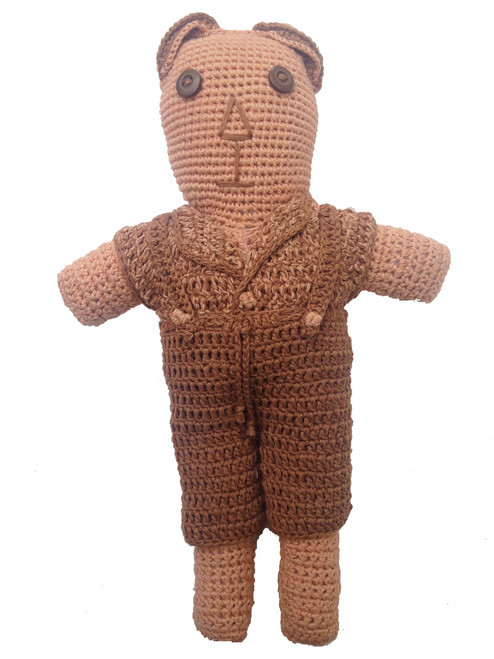 "Handmade Crocheted Natural Dyed Stuffed Bear (12"")"