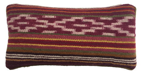 "Handwoven Traditional Woolen Natural Dyed Ikat Pillow Peru (7.5"" x 15"")"