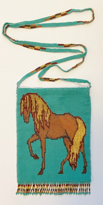 "Handmade Beaded Horse Shoulder Bag (7"" x 5.25"")"