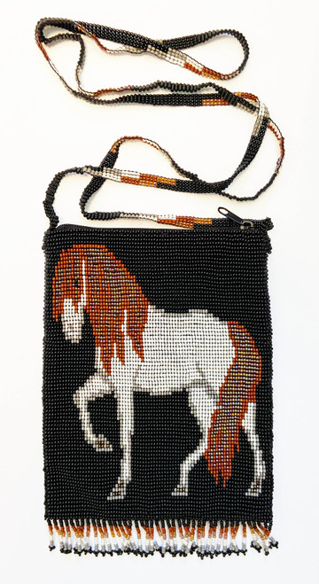"Handmade Beaded  Black and White Horse Shoulder Bag (7"" x 5.25"")"
