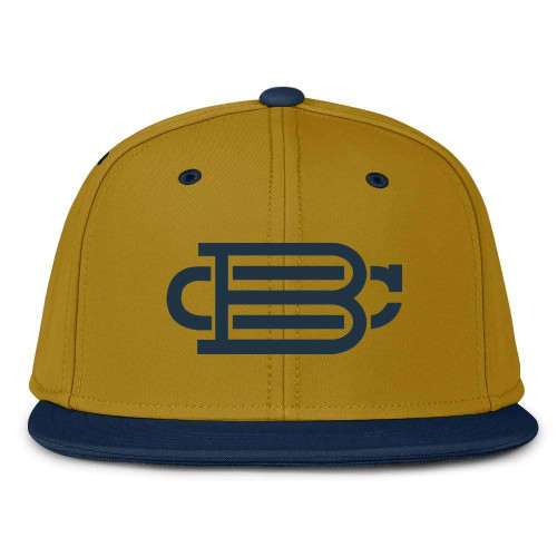 Gold With Navy Blue Fitted BC Hat