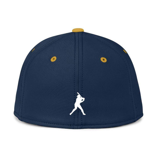 Navy Blue With Gold Bill Fitted BC Hat