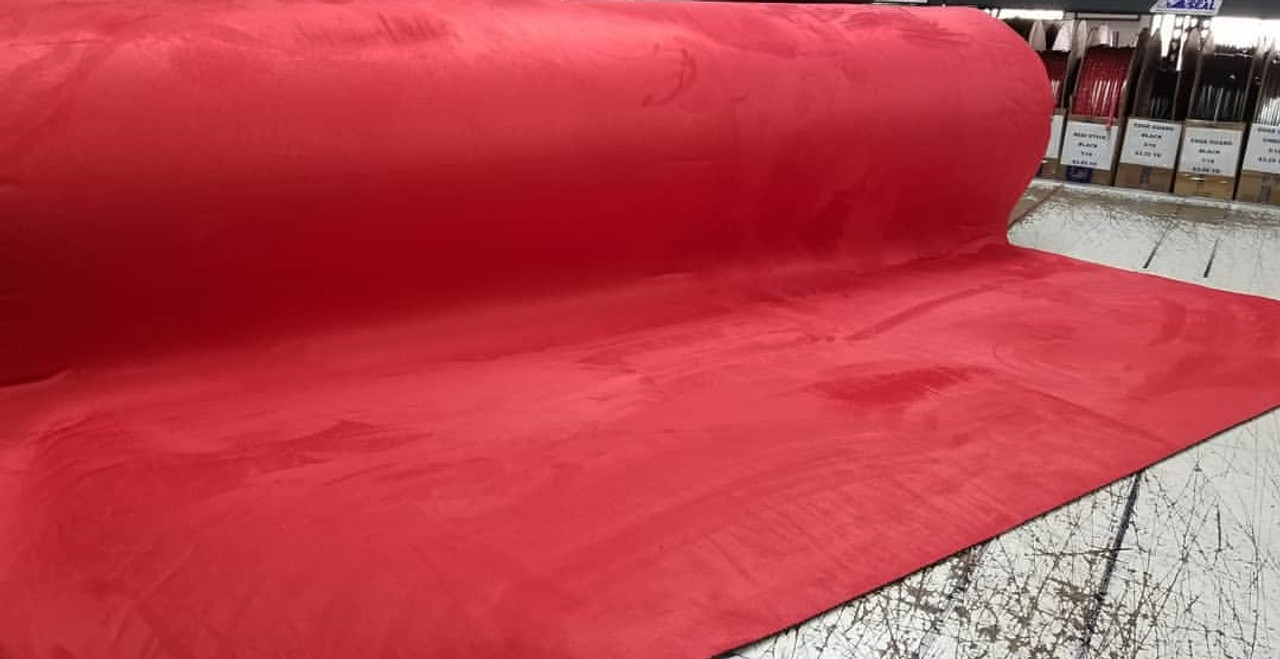 """Luxury STRETCH Suede Headliner Crimson 58"""" - Sold by the CONTINUOUS YARD!"""