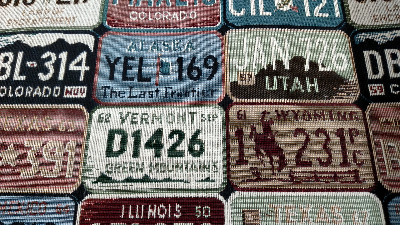 """License Plate Tapestry 56"""""""