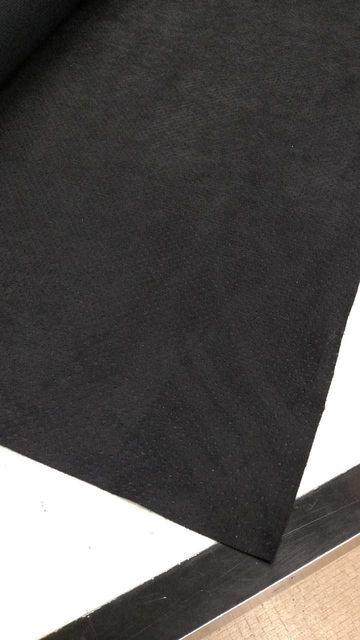 """Synergy LAZOR PERFORATED Onyx Suede (Black) 54"""" Sold by the CONTINUOUS YARD!"""