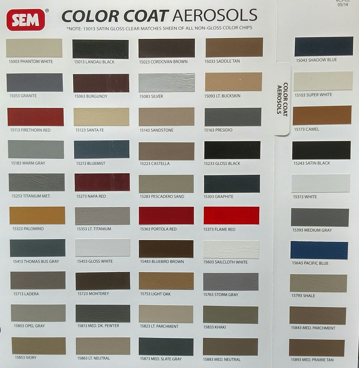 COLOR COAT SAMPLE CARD