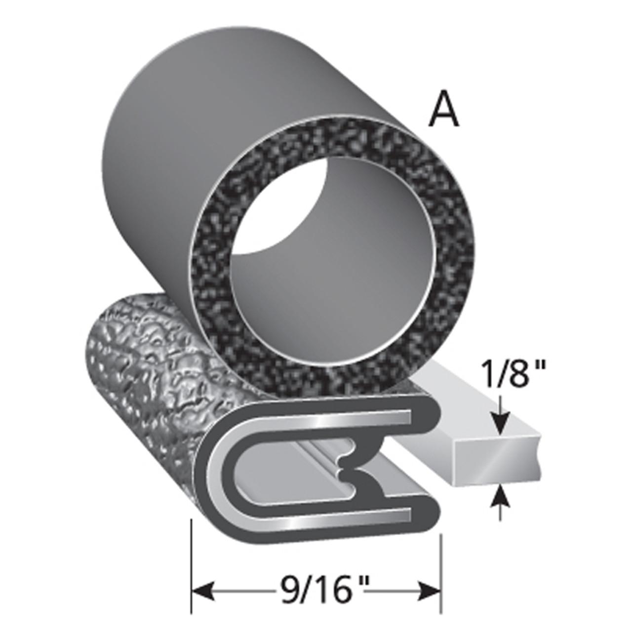 "Bulb Location ""A"" /  Bulb Diameter - 5/8"" /  Fits up to a 1/8"" Edge /  Leg Length of 9/16"""