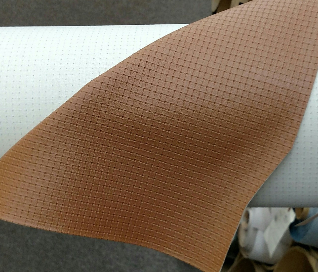 """Woven Pattern Tan Vinyl 54"""" - Sold by the CONTINUOUS YARD!"""