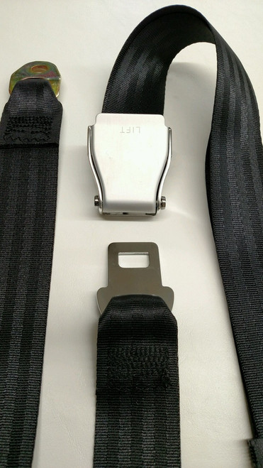 Aluminum Lift-Latch Black Lap/Seat Belt 74""