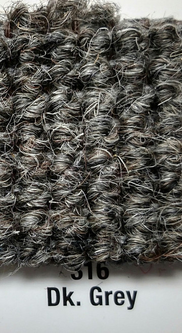 """Imported German Wool Square Weave Carpet 71"""" - 316 Dark Grey"""