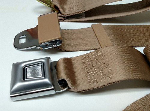 Metal Push Button Tan Lap/Seatbelt 74""