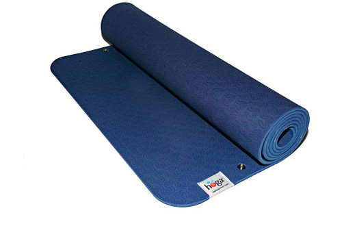 Hoga™ Mat in Warrior Blue  This is our  base mat (bottom snap attachment) made of eco-friendly TPE (Thermal Plastic Elastomer). We specifically chose this material because it is non- porous  (sweat and bacteria is not absorbed into your mat!) and friendly to the environment.  The optimal thickness of 6 mm, provides ample cushioning for feet, hands and joints, but not too thin so that it will not crumble beneath you.   This mat is designed to attach with our HOGA™ Towel (purchased separately).   Mat Dimensions: 24 in. x 72 in. Mat Thickness: 6 mm  Fasteners: Brass and nickel plated for durability and resistant to rust.