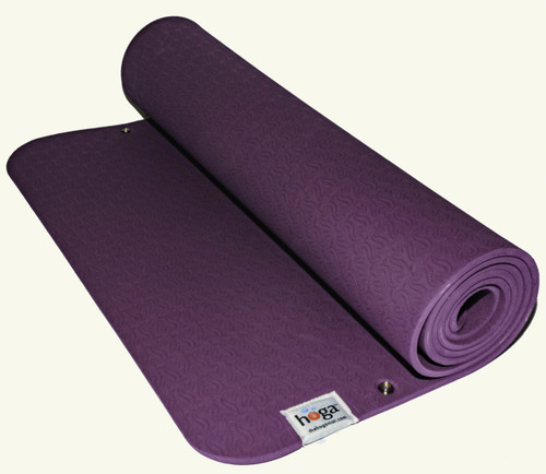 Hoga™ Mat in Peacock Purple  This is our  base mat (bottom snap attachment) made of eco-friendly TPE (Thermal Plastic Elastomer). We specifically chose this material because it is non- porous  (sweat and bacteria is not absorbed into your mat!) and friendly to the environment.  The optimal thickness of 6 mm, provides ample cushioning for feet, hands and joints, but not too thin so that it will not crumble beneath you.   This mat is designed to attach with our HOGA™ Towel (purchased separately).   Mat Dimensions: 24 in. x 72 in. Mat Thickness: 6 mm (1/4 in.) Fasteners: Brass and nickel plated for durability and resistant to rust.