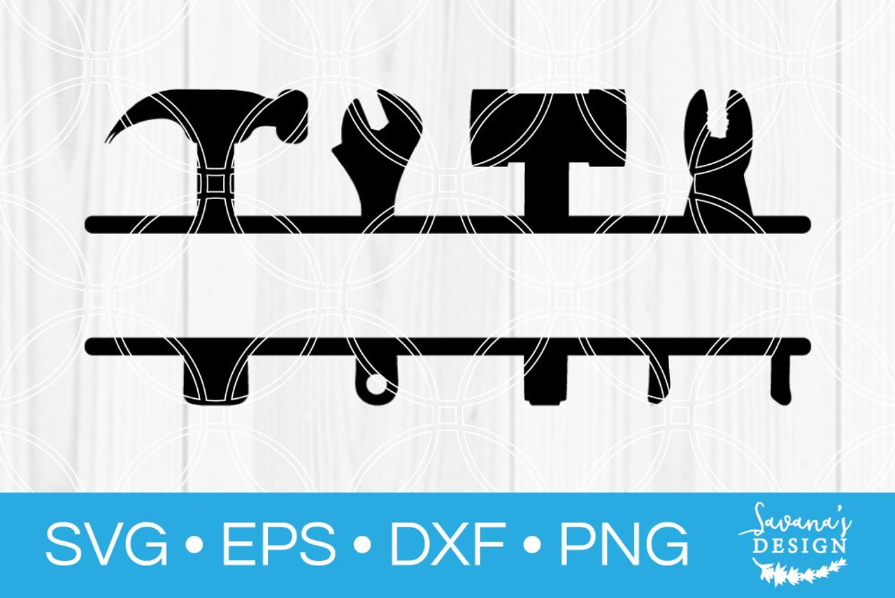 Tool Set Split Monogram Svg Svg Eps Png Dxf Cut Files For Cricut And Silhouette Cameo By Savanasdesign