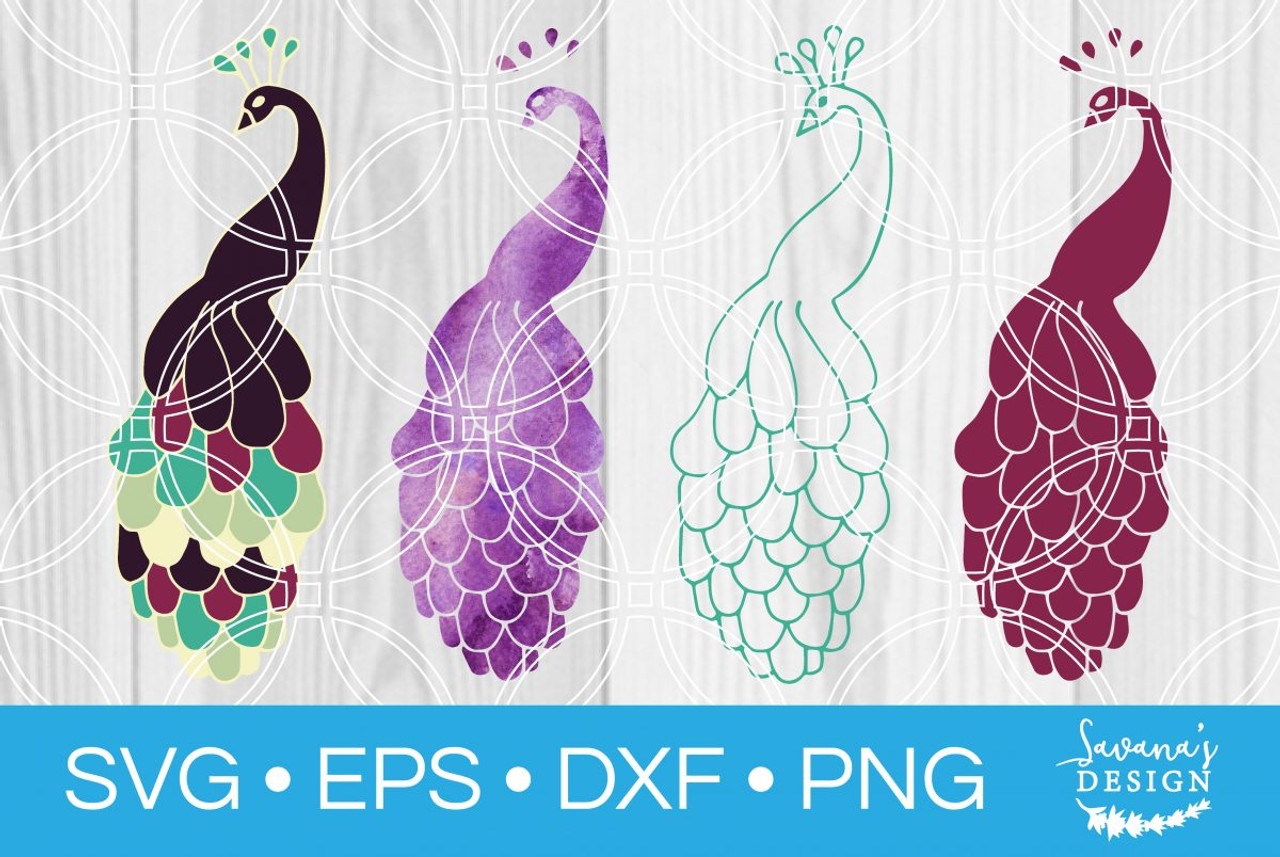 Peacock Svg Svg Eps Png Dxf Cut Files For Cricut And Silhouette Cameo By Savanasdesign