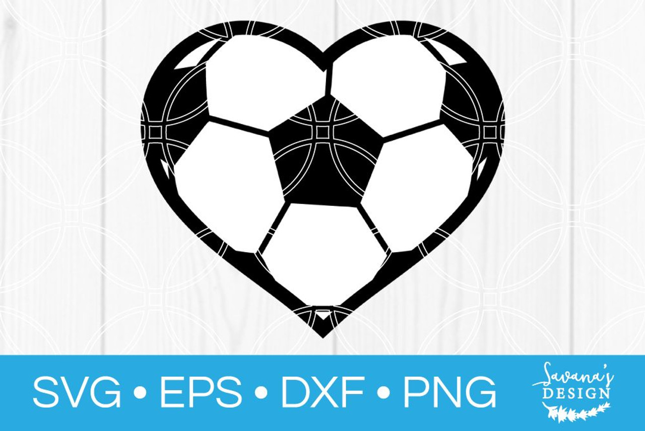 Soccer Heart Svg Svg Eps Png Dxf Cut Files For Cricut And Silhouette Cameo By Savanasdesign