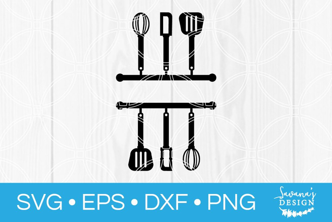 Kitchen Split Monogram Svg Svg Eps Png Dxf Cut Files For Cricut And Silhouette Cameo By Savanasdesign