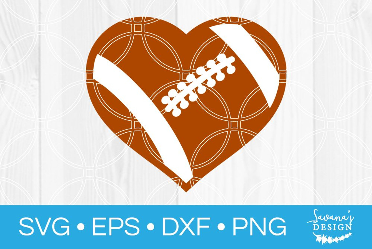 Football Heart Svg Svg Eps Png Dxf Cut Files For Cricut And Silhouette Cameo By Savanasdesign