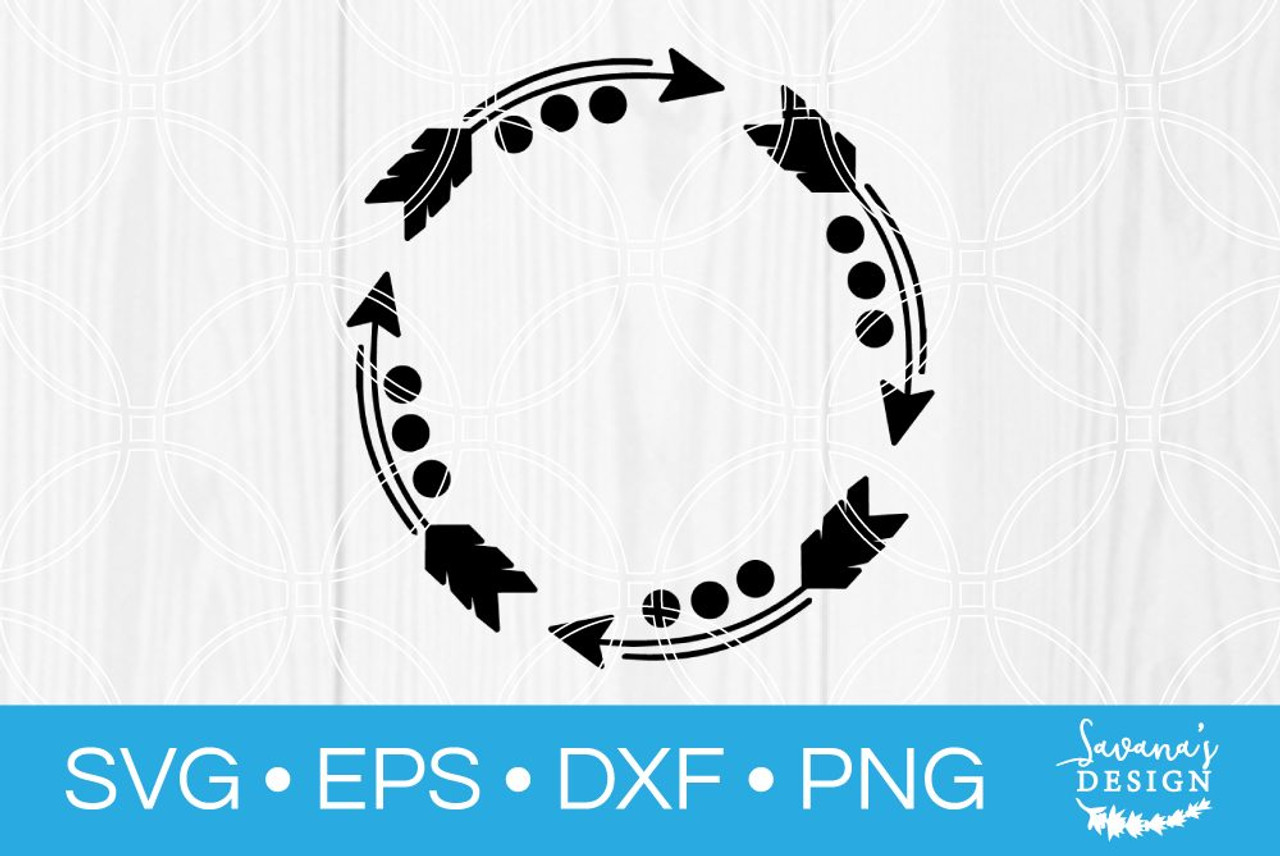 Arrow Monogram Frame Svg Svg Eps Png Dxf Cut Files For Cricut And Silhouette Cameo By Savanasdesign