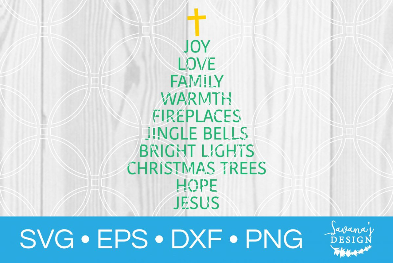 Christmas Tree Words Svg Svg Eps Png Dxf Cut Files For Cricut And Silhouette Cameo By Savanasdesign