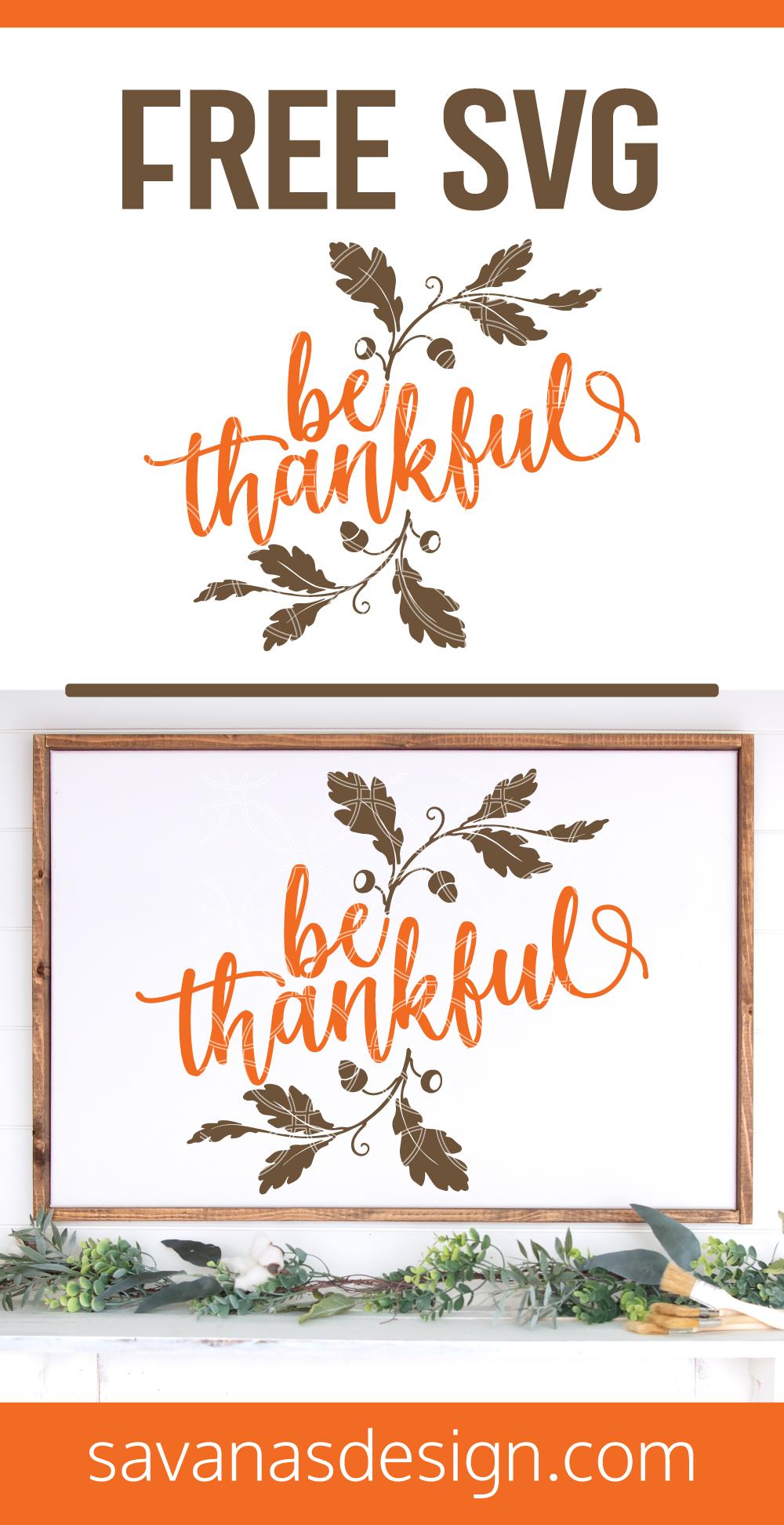 Be Thankful SVG Pinterest