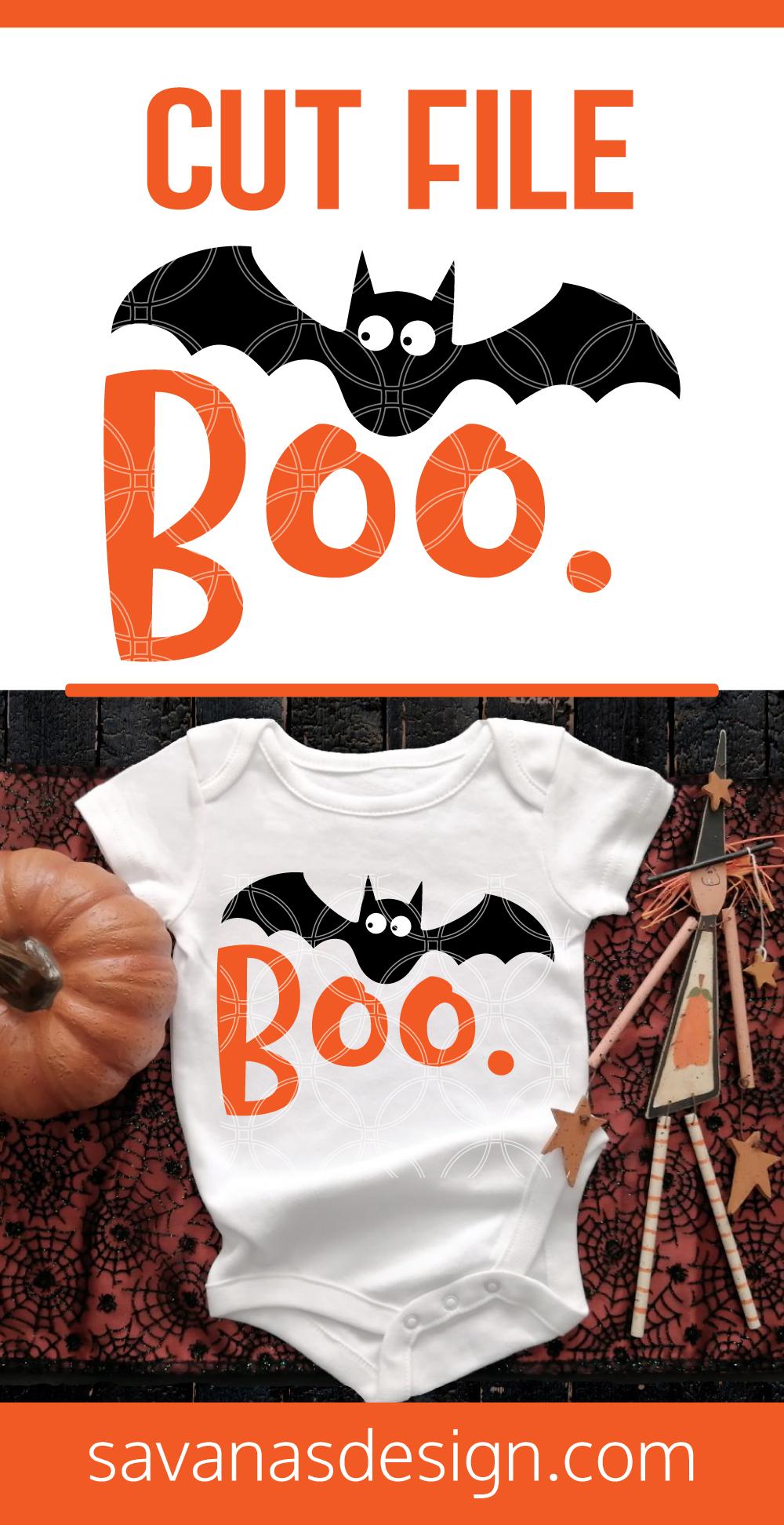 Boo Halloween Bat SVG Pinterest