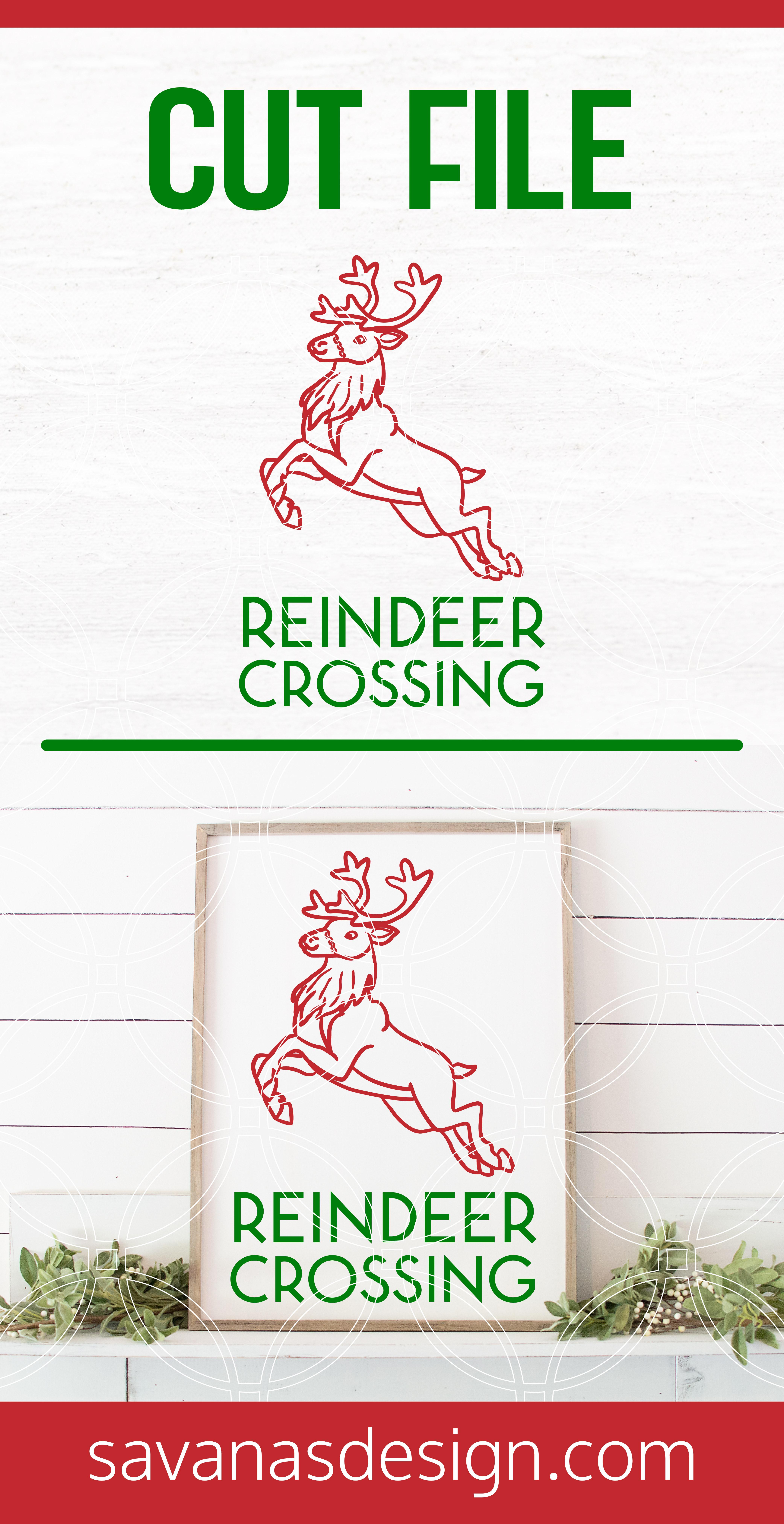 Reindeer Crossing SVG Pinterest