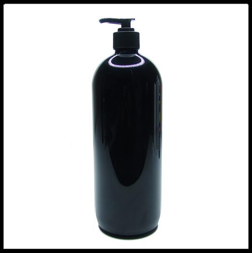 Gloss Black PET Round 1 Litre Pump Bottle