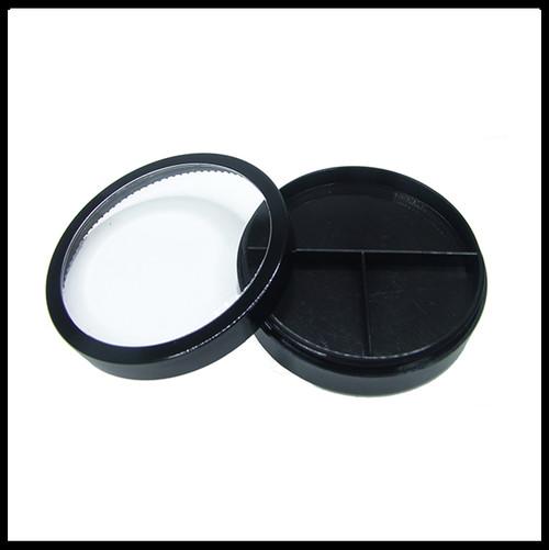 Jar with 3 Way Divider and Cap - Black