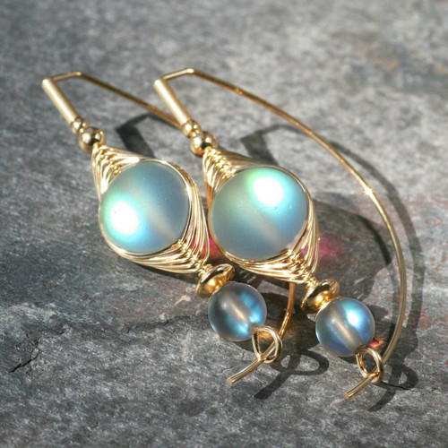 Simulated Moonstone Wire Wrapped Earring
