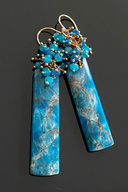 Apatite with Blue Chalcedony and Brown Quartz