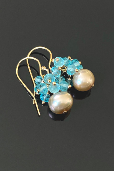 Champagne Freshwater Pearl & Apatite Petite Earring