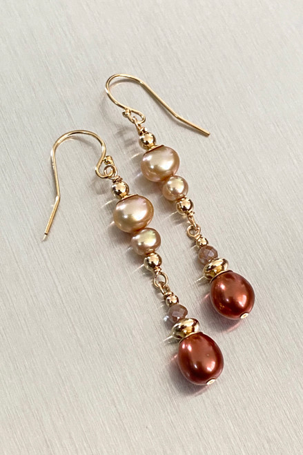 Auburn & Champagne Pearl Earrings