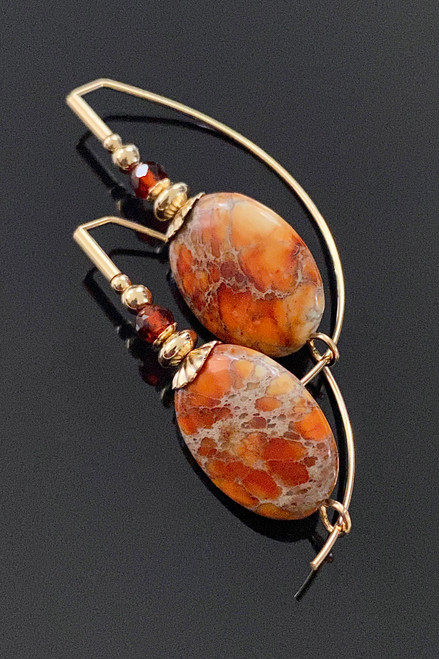 Impression Jasper  Oval Signature Earring
