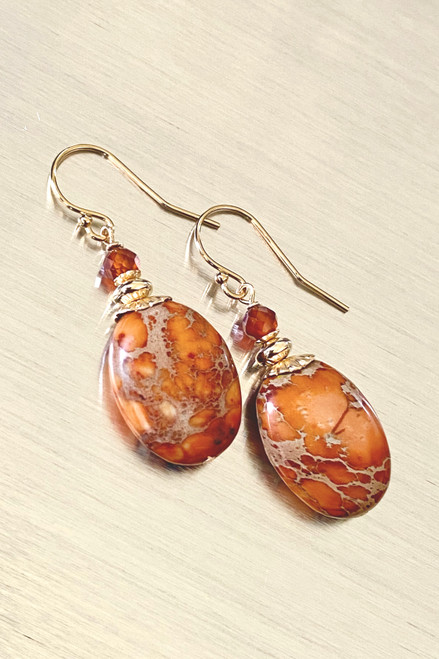 Impression Jasper  Ovals with Garnet accent