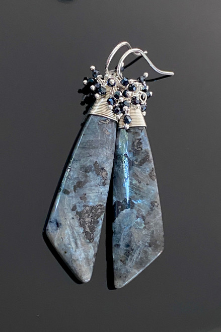 Black Labradorite & Spinel Earrings