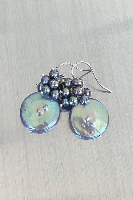 Blue/Grey Large Coin Pearl Earrings