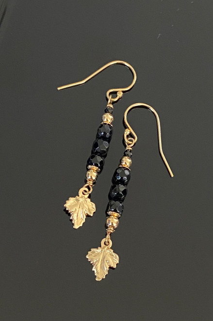 Black Onyx Faceted Trio with Leaf