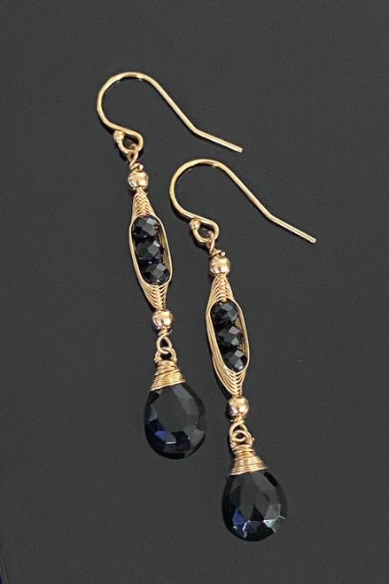 Wire wrapped Faceted Black Onyx