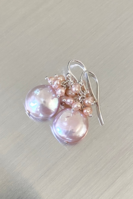 Pink Coin Pearl with  Pearl cluster